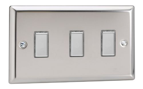 Varilight JCES003 Classic Mirror Chrome 3 Gang Touch Dimming Slave (use with V-Pro Master)